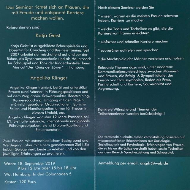 Einladung Führungsseminar für Frauen 18. September 2019